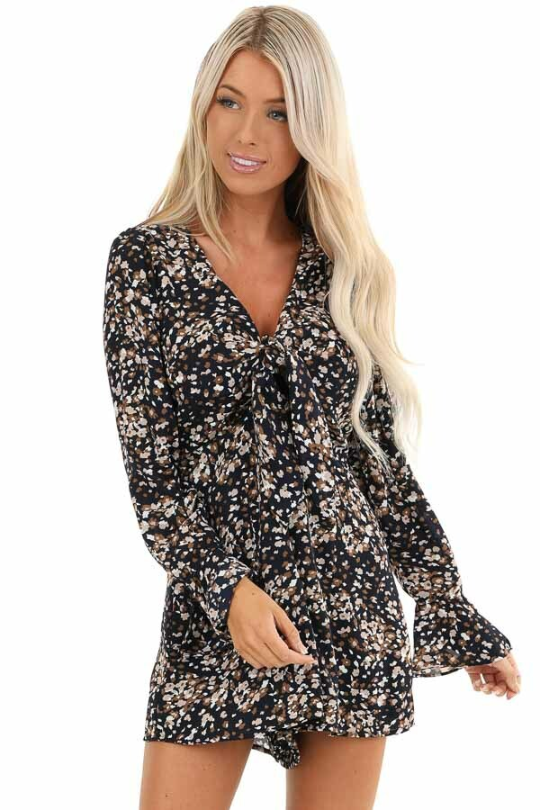 Navy Floral Print Long Sleeve Romper with Front Tie front close up