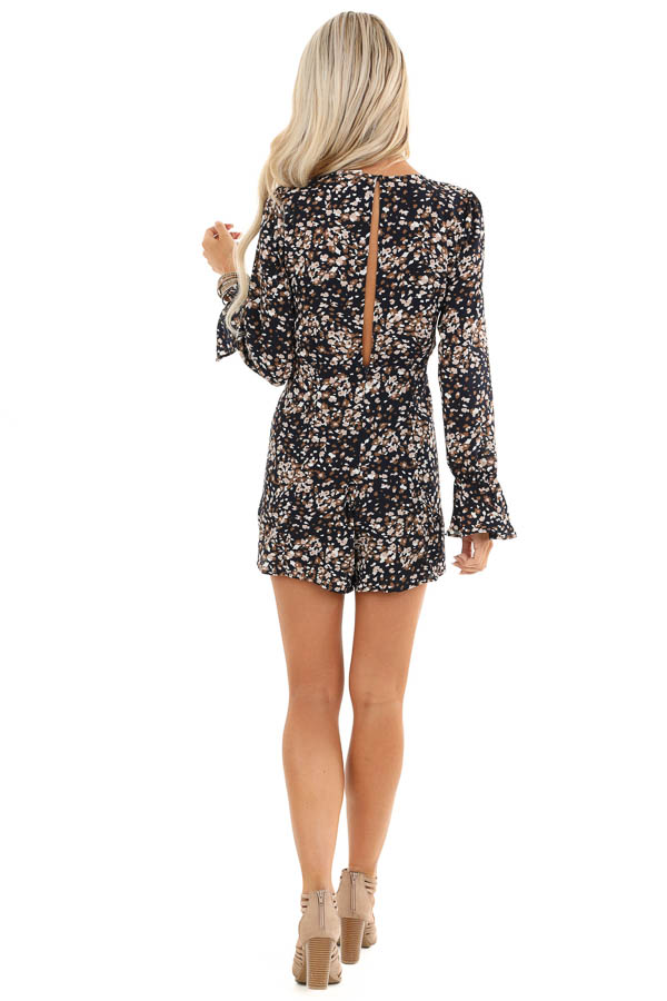 Navy Floral Print Long Sleeve Romper with Front Tie back full body