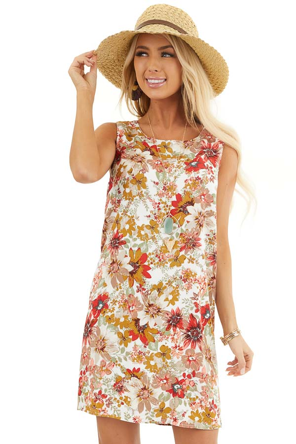 Pearl White Floral Print Shift Mini Dress with Cutout Back front close up