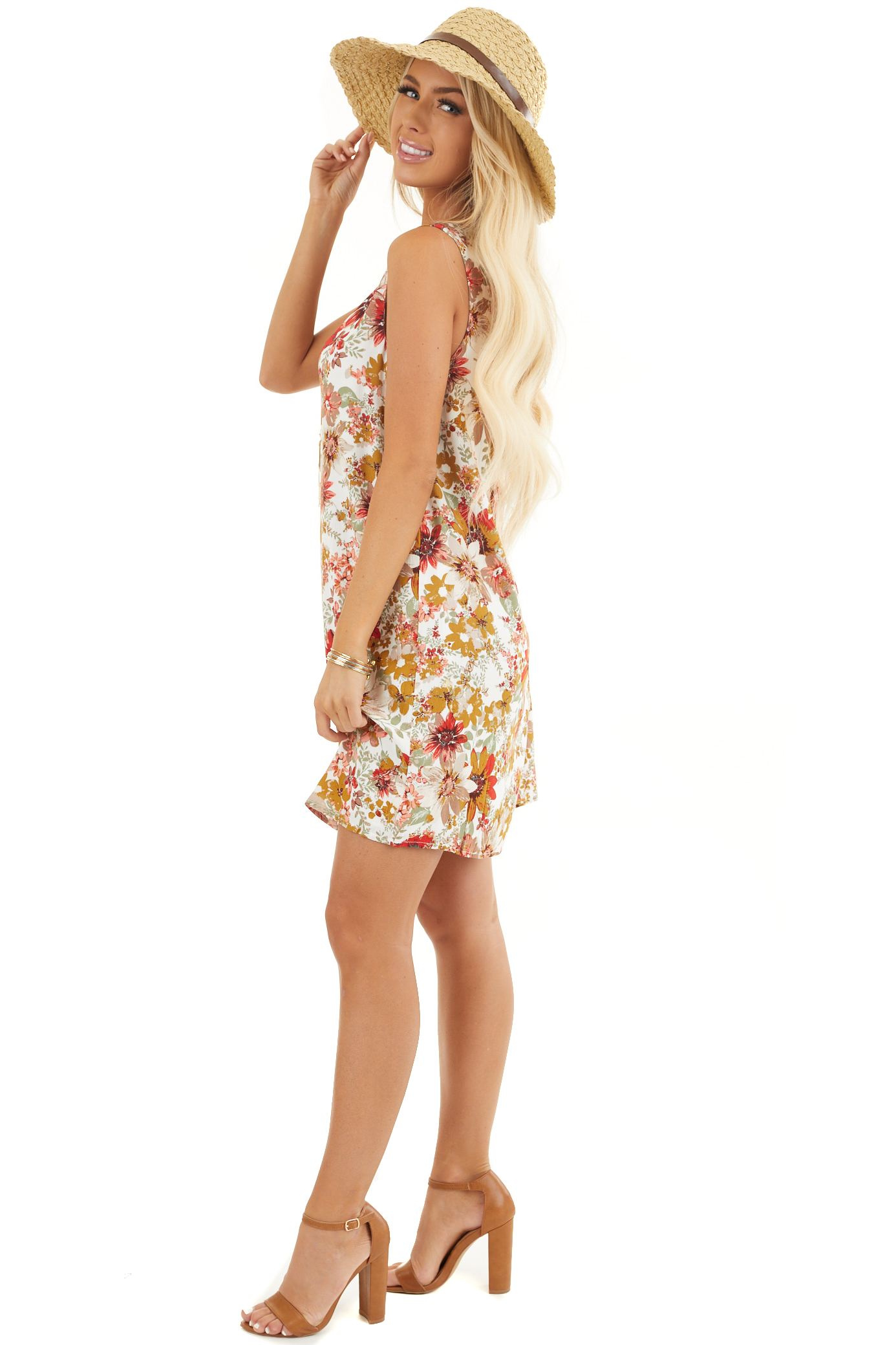Pearl White Floral Print Shift Mini Dress with Cutout Back side full body