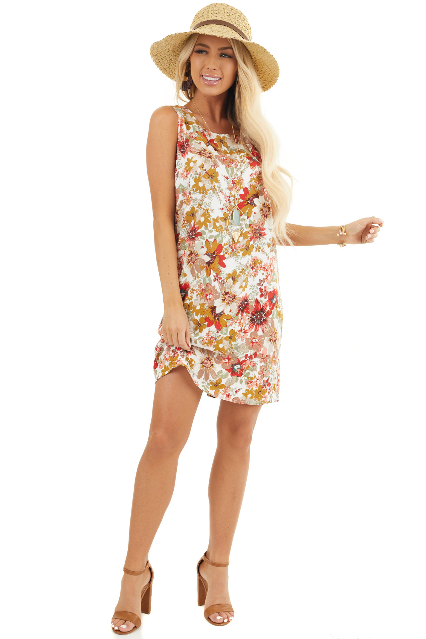 Pearl White Floral Print Shift Mini Dress with Cutout Back front full body