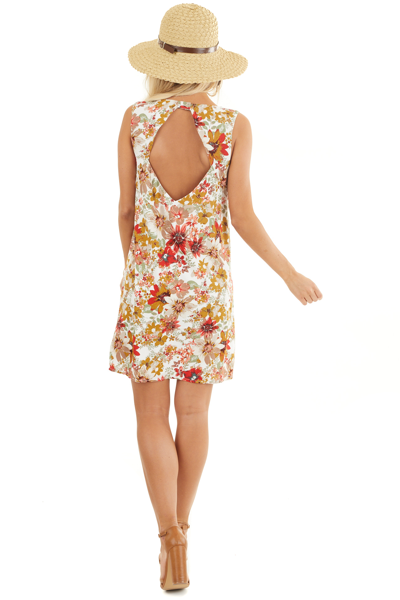 Pearl White Floral Print Shift Mini Dress with Cutout Back back full body