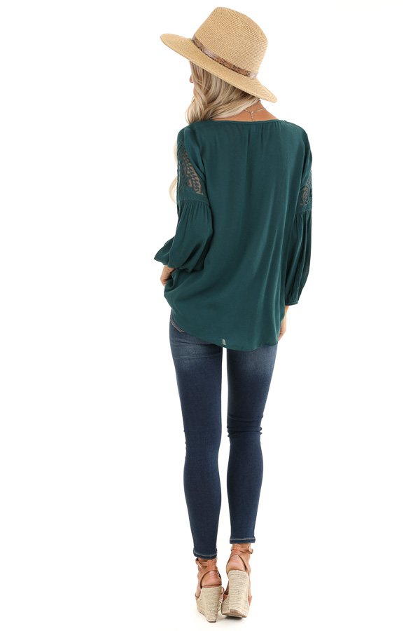 Teal Blue Embroidered 3/4 Sleeve Top with Front Tie back full body