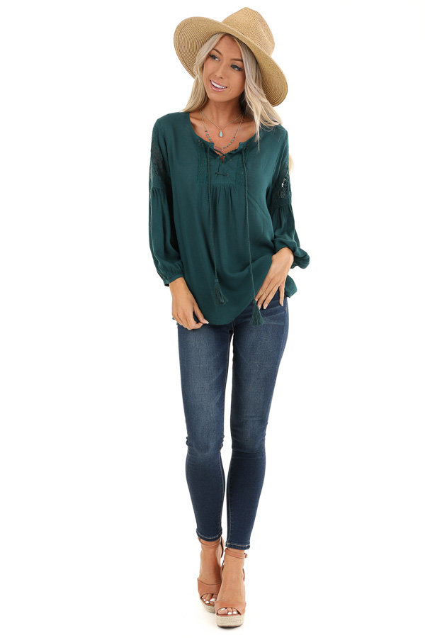 Teal Blue Embroidered 3/4 Sleeve Top with Front Tie front full body