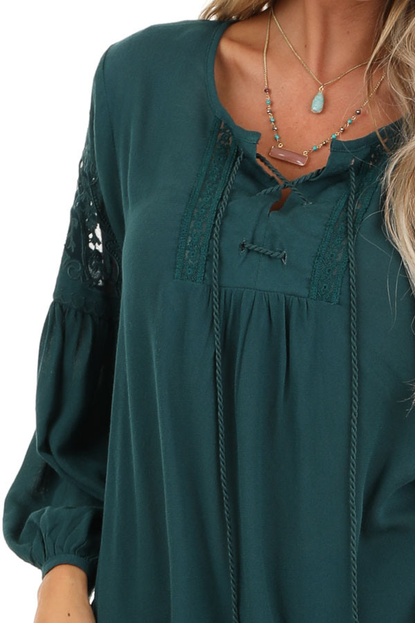 Teal Blue Embroidered 3/4 Sleeve Top with Front Tie detail