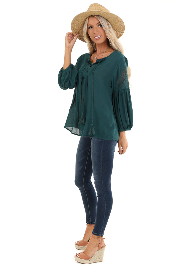 Teal Blue Embroidered 3/4 Sleeve Top with Front Tie side full body