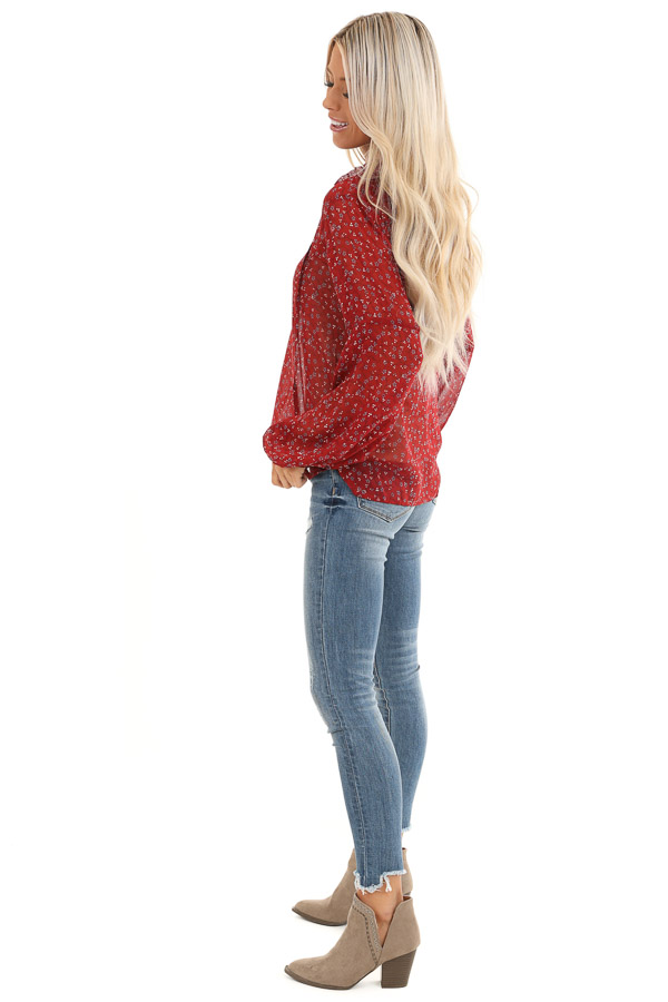 Berry Red Floral Print Long Sleeve Sheer Top with Self Tie side full body