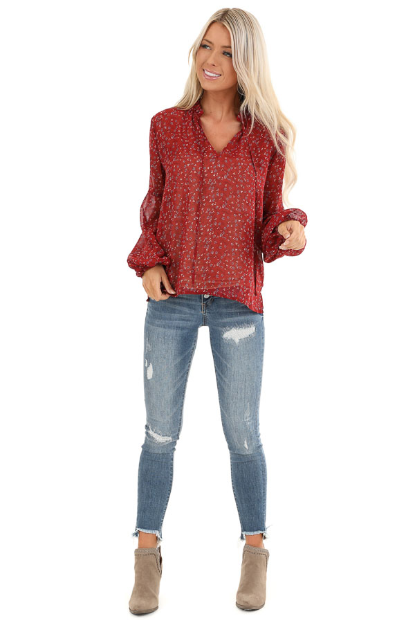 Berry Red Floral Print Long Sleeve Sheer Top with Self Tie front full body