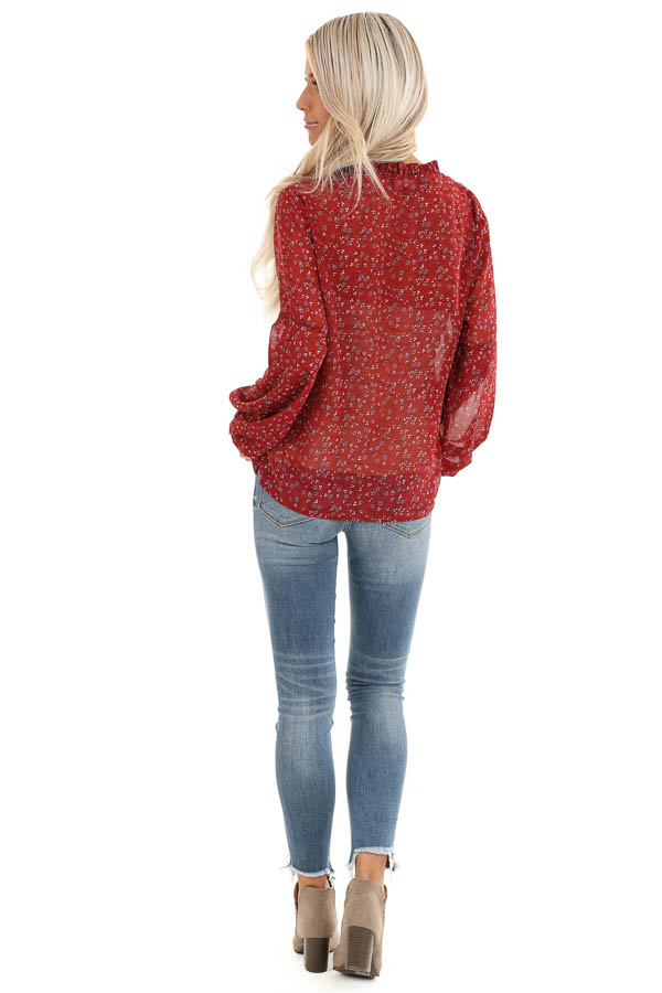 Berry Red Floral Print Long Sleeve Sheer Top with Self Tie back full body