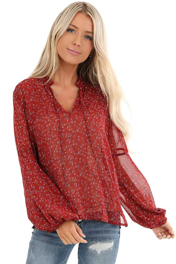Berry Red Floral Print Long Sleeve Sheer Top with Self Tie front close up