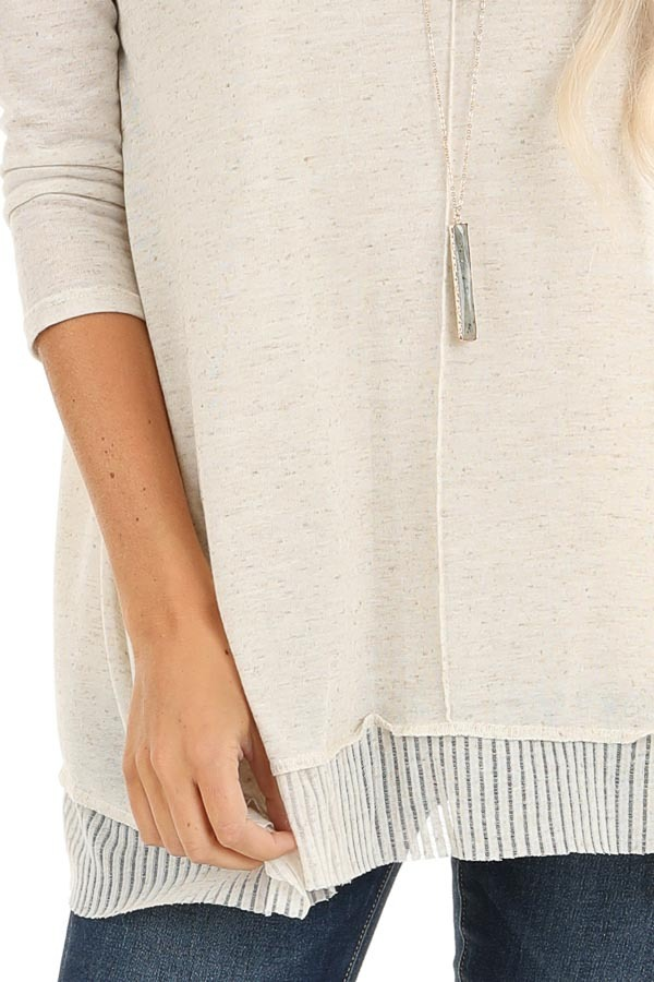 Oatmeal Two Tone 3/4 Sleeve Top with Ribbed Hemline Detail detail