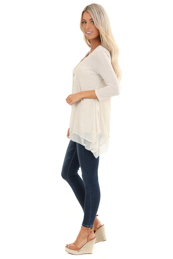 Oatmeal Two Tone 3/4 Sleeve Top with Ribbed Hemline Detail side full body