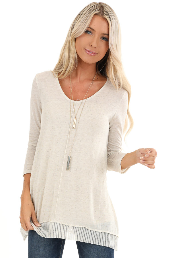 Oatmeal Two Tone 3/4 Sleeve Top with Ribbed Hemline Detail front close up