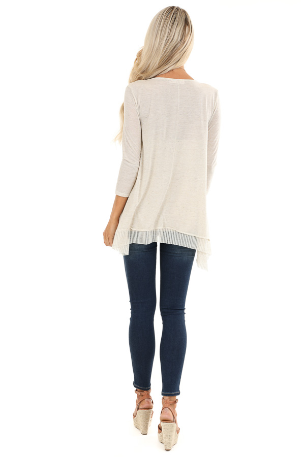 Oatmeal Two Tone 3/4 Sleeve Top with Ribbed Hemline Detail back full body