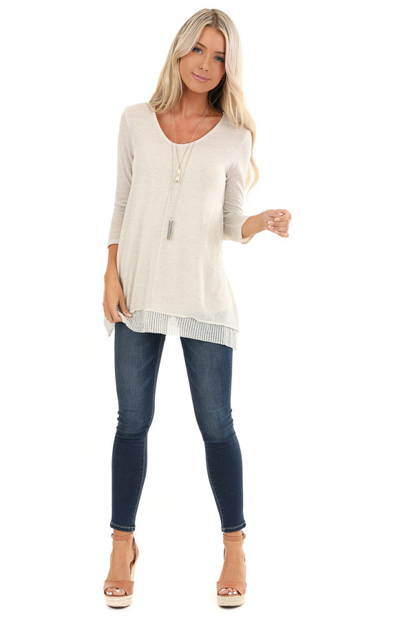 Oatmeal Two Tone 3/4 Sleeve Top with Ribbed Hemline Detail front full body