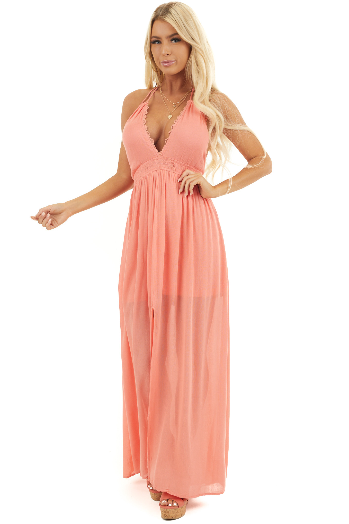 Coral Halter Maxi Dress with Lace Detail and Tassel Ties