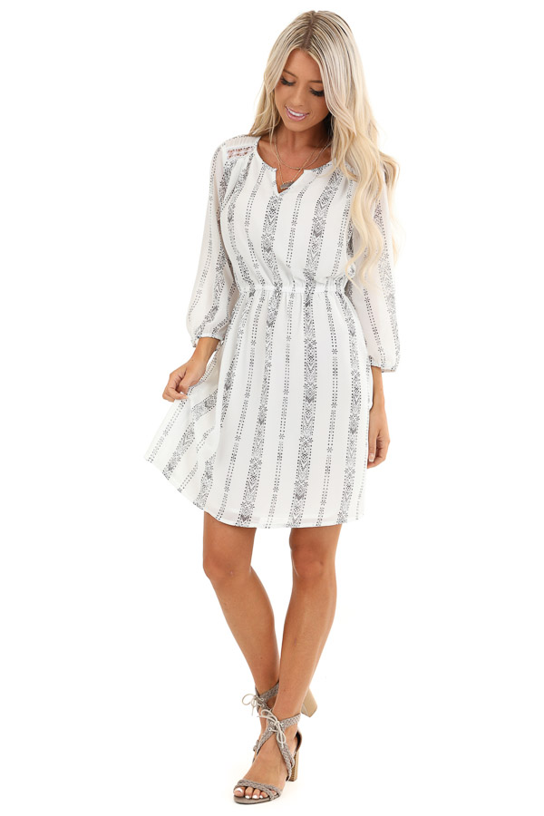 Pearl White and Charcoal Patterned Dress with Elastic Waist front full body