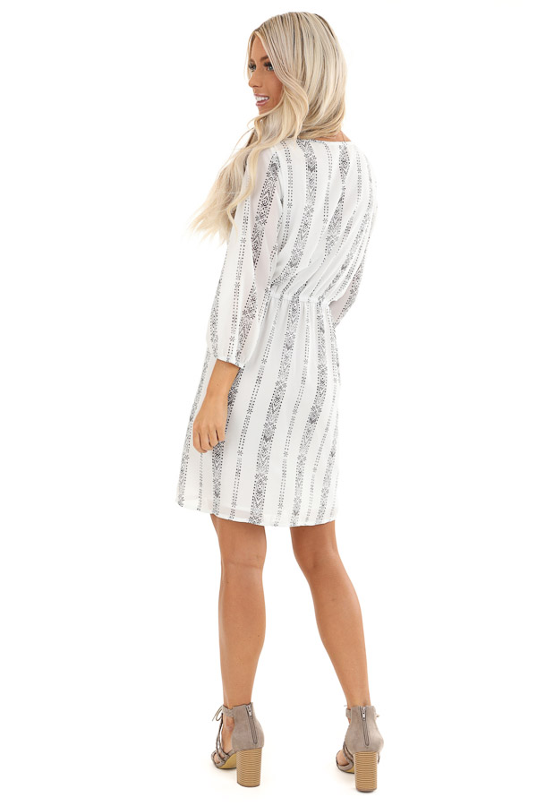 Pearl White and Charcoal Patterned Dress with Elastic Waist back full body