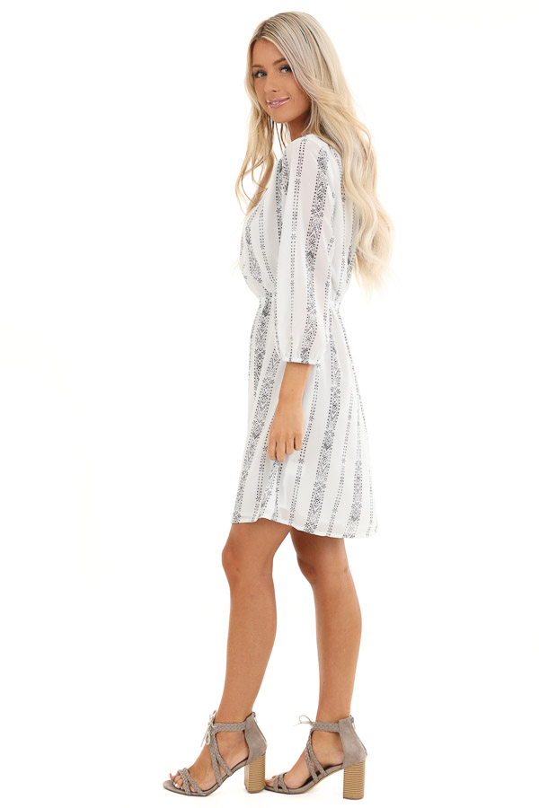 Pearl White and Charcoal Patterned Dress with Elastic Waist side full body
