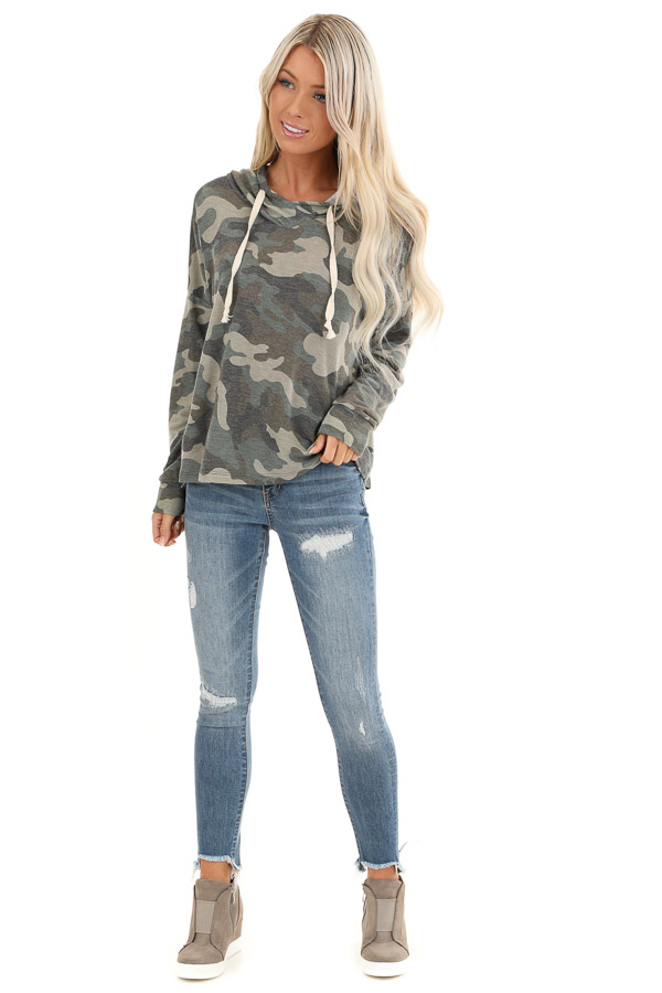 Olive Camo Print Long Sleeve Drawstring Hoodie Top front full body
