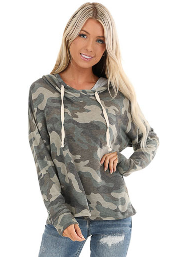 Olive Camo Print Long Sleeve Drawstring Hoodie Top front close up