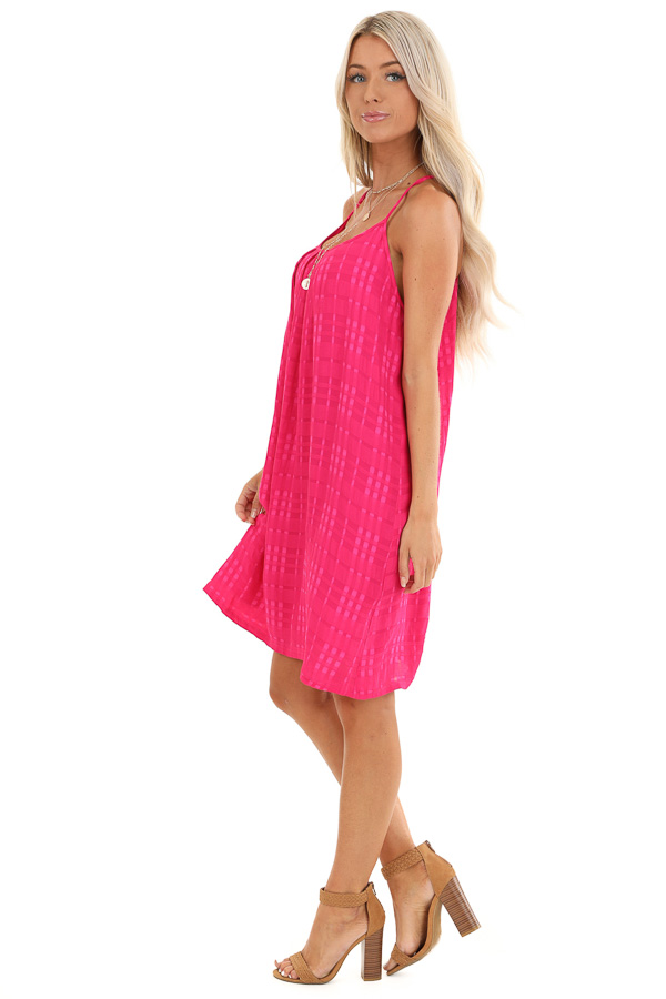 Hot Pink Textured Spaghetti Strap Mini Dress with Tie Neck side full body