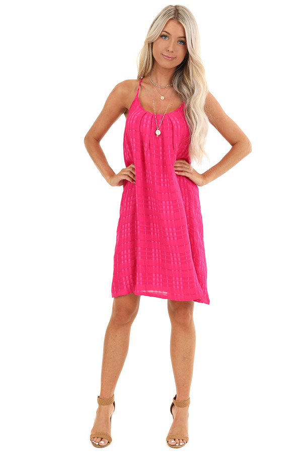 Hot Pink Textured Spaghetti Strap Mini Dress with Tie Neck front full body