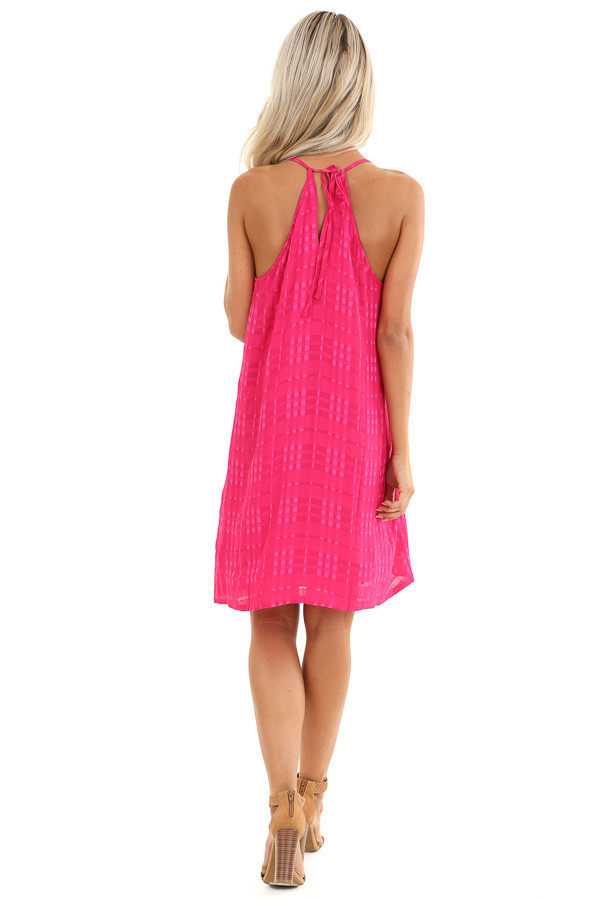 Hot Pink Textured Spaghetti Strap Mini Dress with Tie Neck back full body