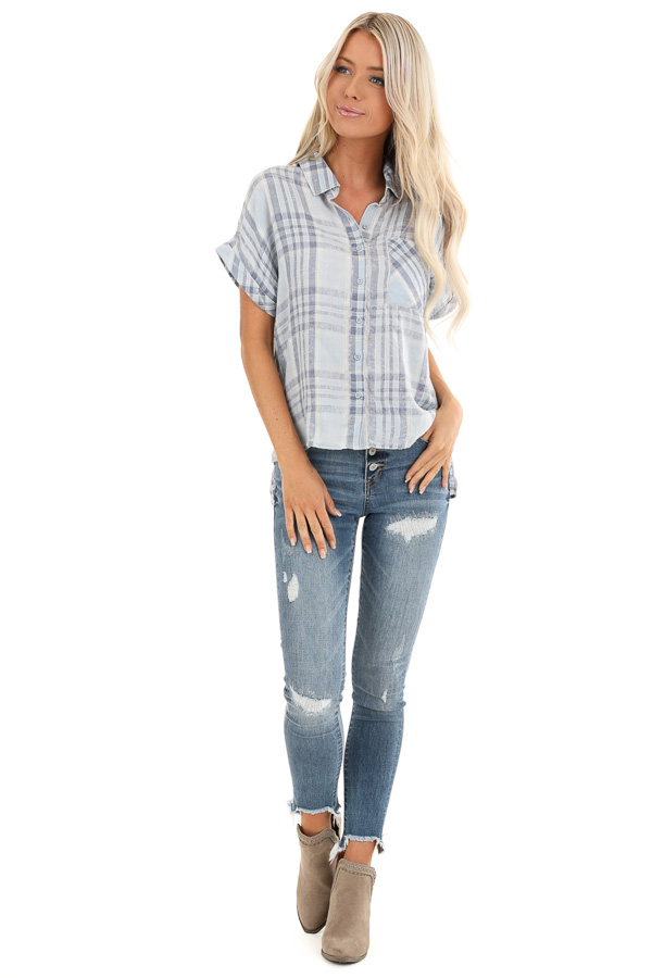 Slate Blue Plaid Button Up Short Cuffed Sleeve Top front full body