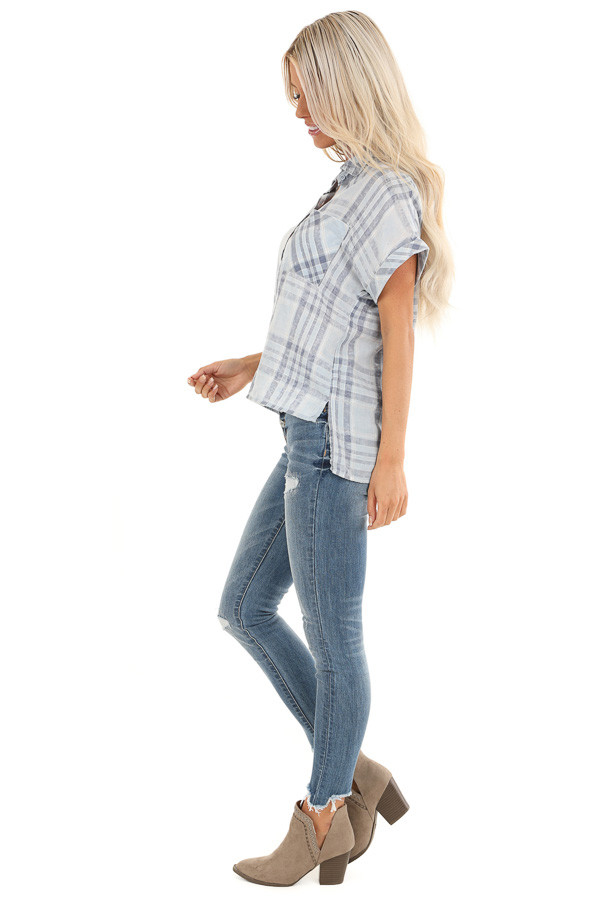 Slate Blue Plaid Button Up Short Cuffed Sleeve Top side full body