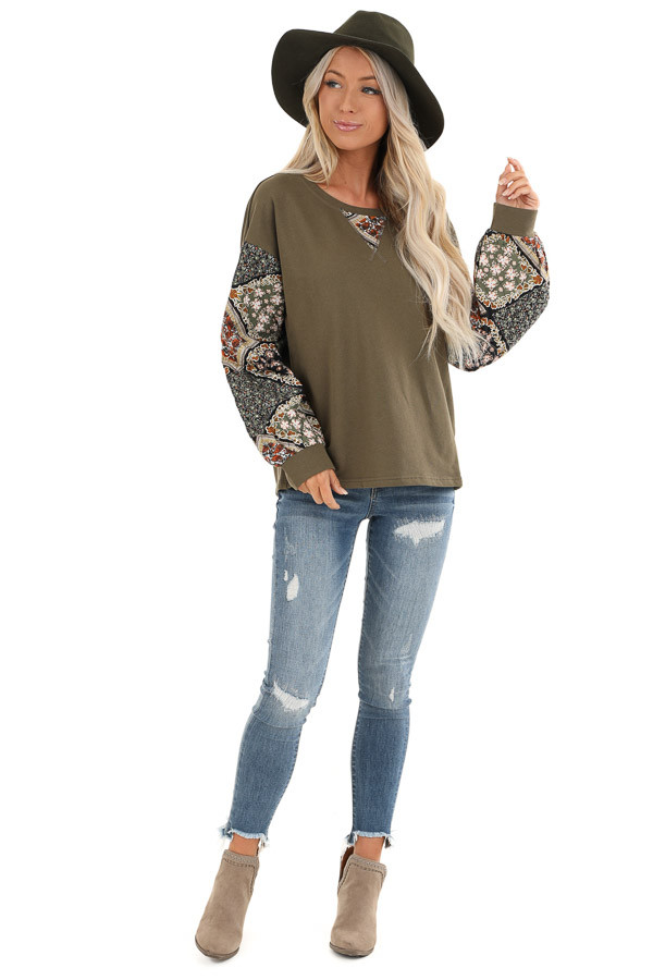 Dark Olive Patched Floral Quilt Print Long Sleeve Top front full body
