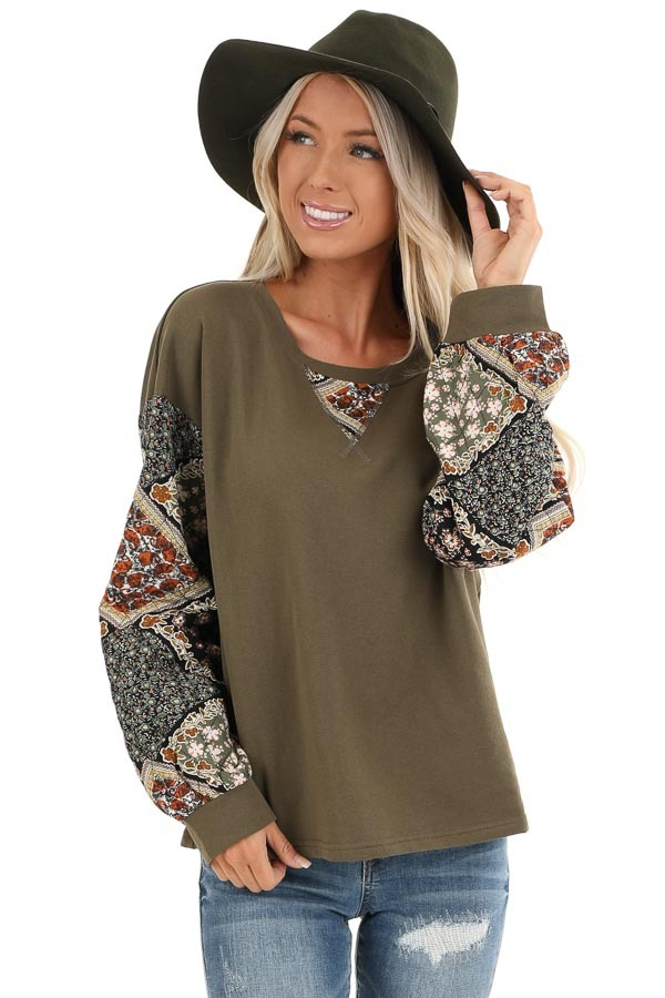 Dark Olive Patched Floral Quilt Print Long Sleeve Top front close up