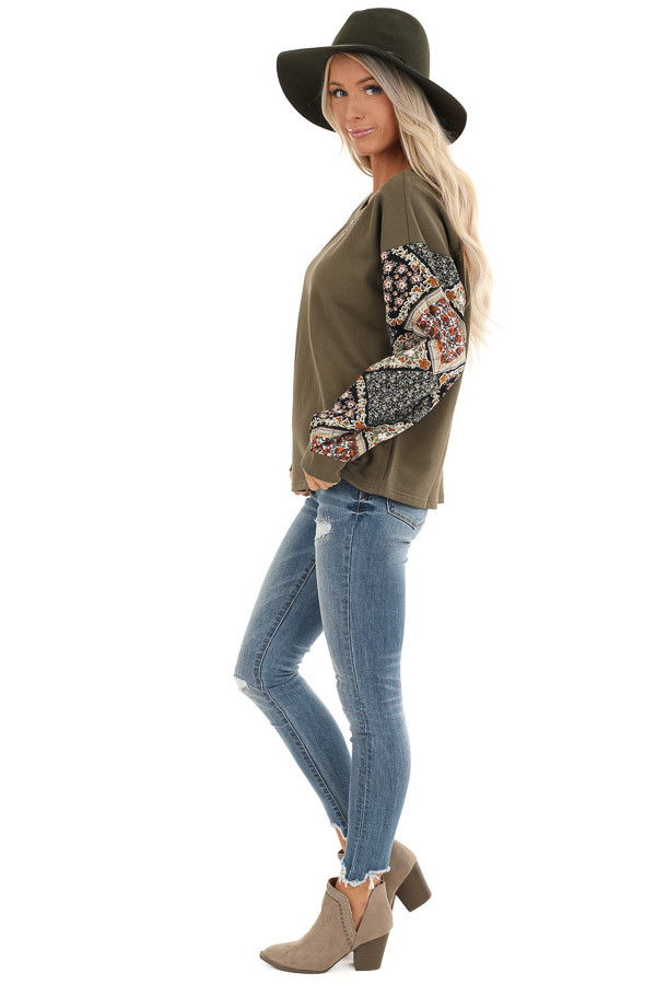 Dark Olive Patched Floral Quilt Print Long Sleeve Top side full body