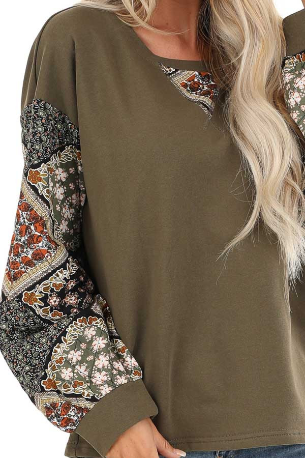 Dark Olive Patched Floral Quilt Print Long Sleeve Top detail