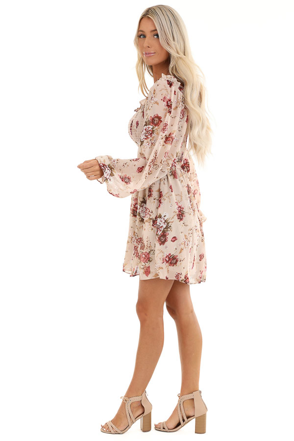 Blush Floral Mini Dress with Long Sleeves and Ruffle Details side full body