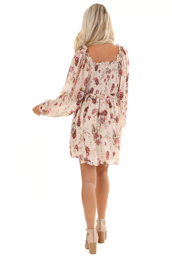 Blush Floral Mini Dress with Long Sleeves and Ruffle Details back full body