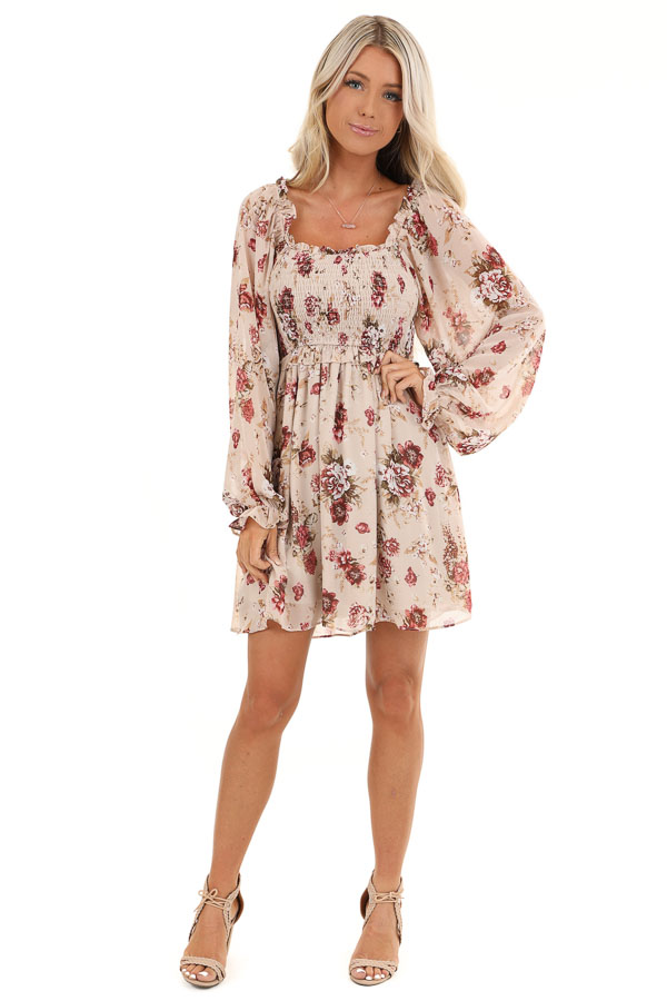 Blush Floral Mini Dress with Long Sleeves and Ruffle Details front full body