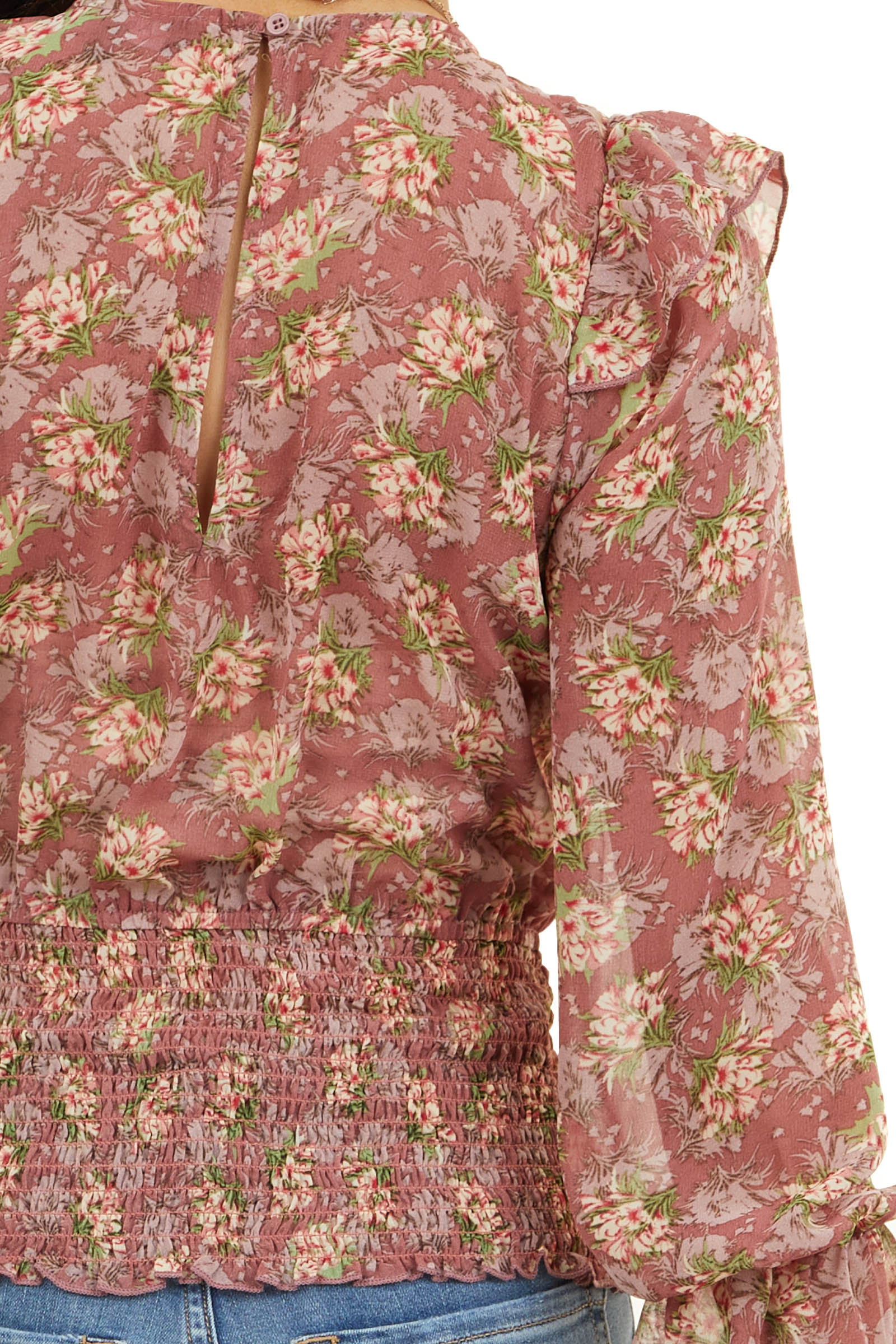 Vintage Rose Floral Print Top with Ruffles and Smocked Hem
