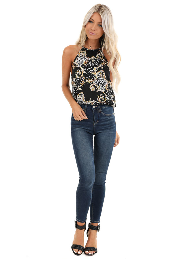 Obsidian Black Multi Print High Neck Tank Top with Back Tie front full body