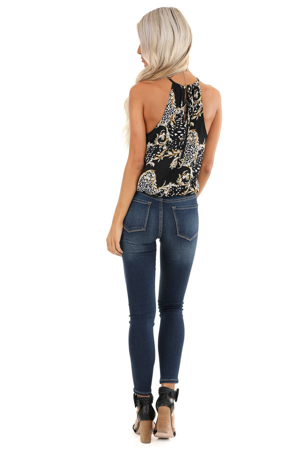 Obsidian Black Multi Print High Neck Tank Top with Back Tie back full body
