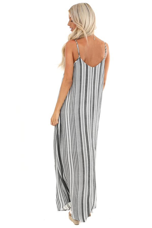 Charcoal and Pearl Striped Flowy Maxi Dress with Pockets back full body