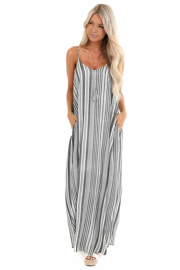 Charcoal and Pearl Striped Flowy Maxi Dress with Pockets front full body