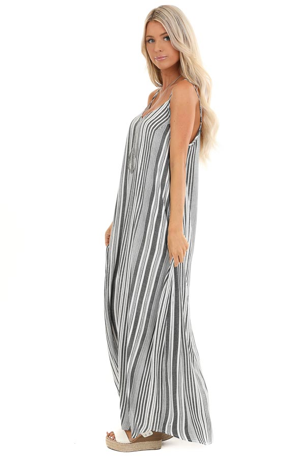 Charcoal and Pearl Striped Flowy Maxi Dress with Pockets side full body