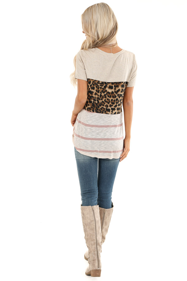 Oatmeal Leopard and Striped Color Block Short Sleeve Top back full body