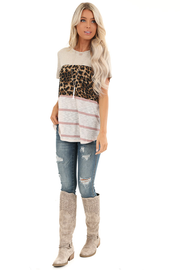 Oatmeal Leopard and Striped Color Block Short Sleeve Top front full body
