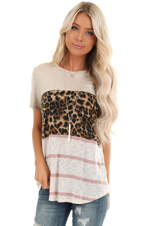 Oatmeal Leopard and Striped Color Block Short Sleeve Top front close up