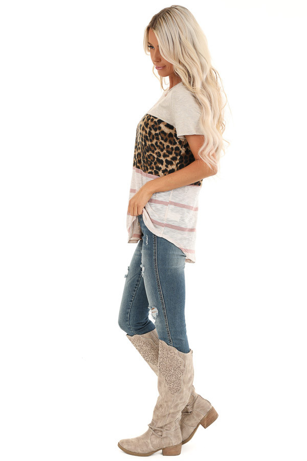 Oatmeal Leopard and Striped Color Block Short Sleeve Top side full body