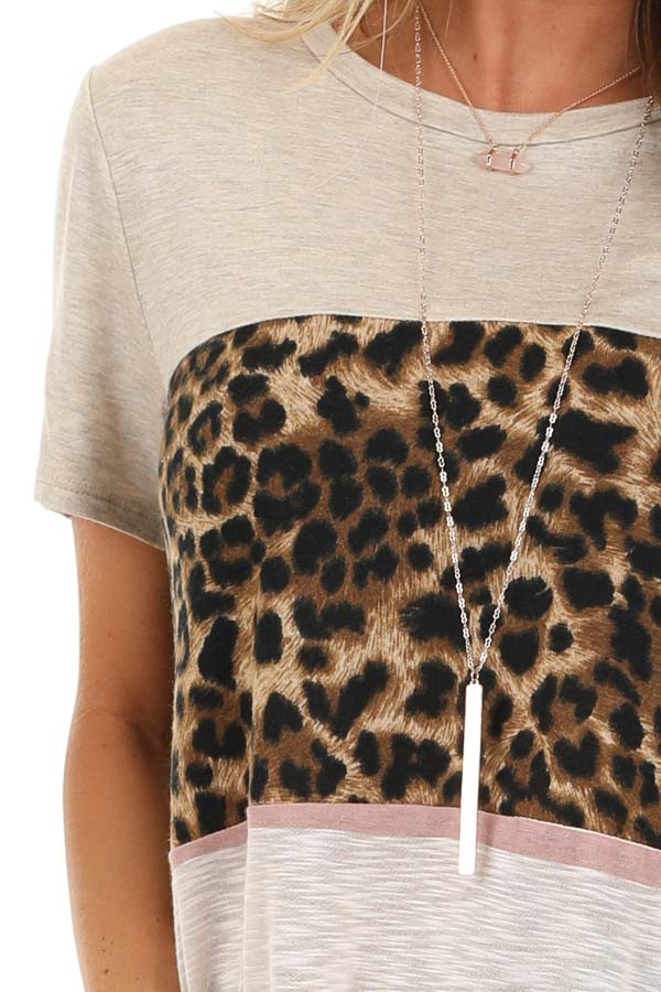 Oatmeal Leopard and Striped Color Block Short Sleeve Top detail