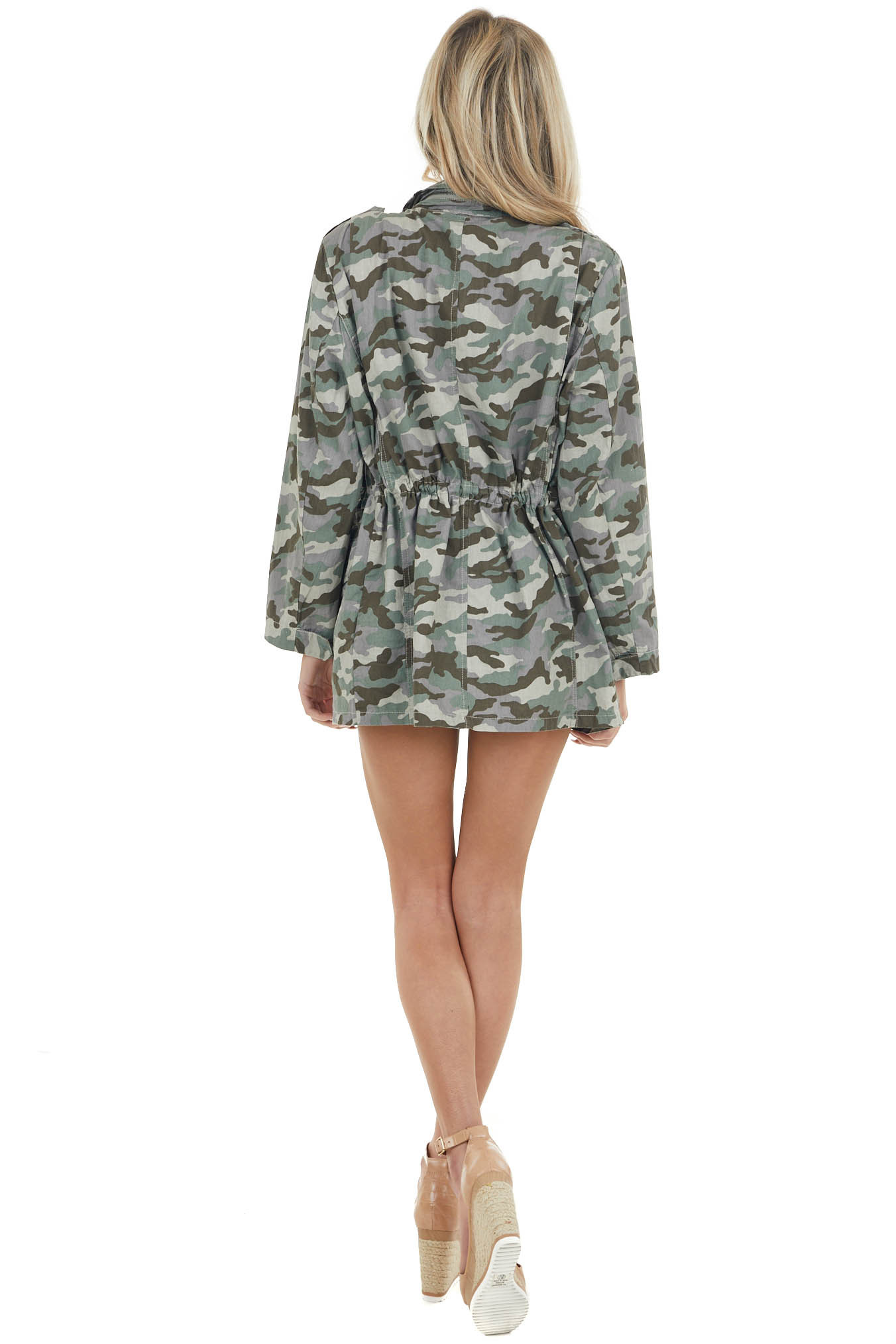 Forest Green Camo Cargo Jacket with Zipper Details