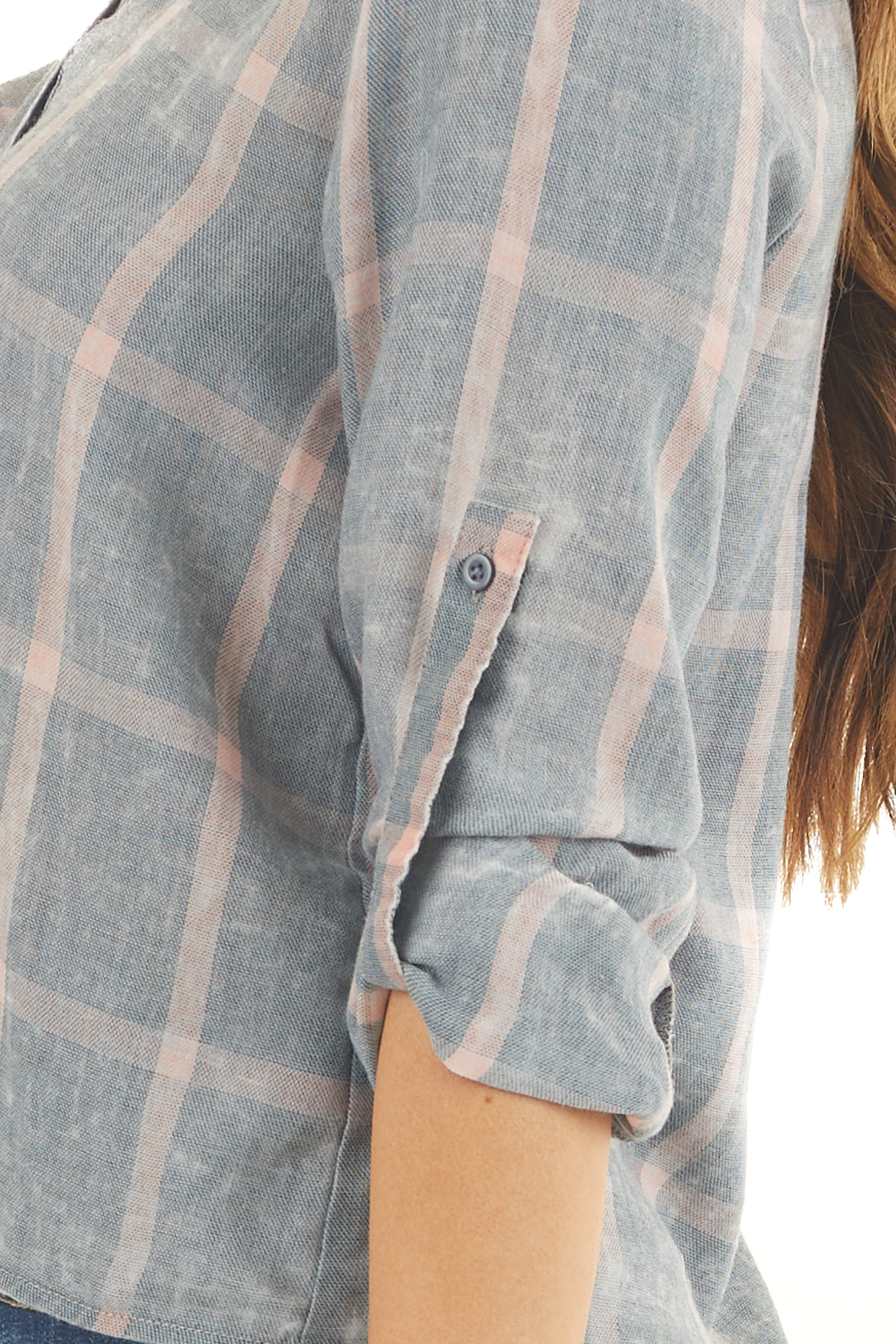 Vintage Blue and Salmon Plaid 3/4 Sleeve Button Up Top